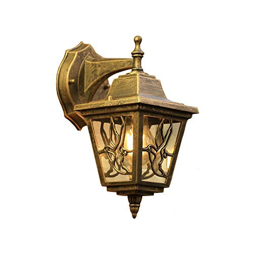 LifeX European Bird Shape Bronze Wall Sconce Outdoor Waterproof Wall Lighting Fixture Vintage Balcony Aluminum Wall Lamp E27 Base Wall Lamps with Glass Lampshade