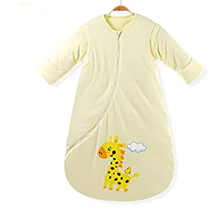 EsTong Unisex Baby Cotton Sleeper Gowns Toddler Wearable Blankets Long Sleeve Sleeping Bag Sack Yellow Thick M