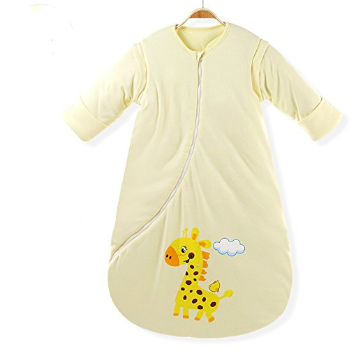 EsTong Unisex Baby Cotton Sleeper Gowns Toddler Wearable Blankets Long Sleeve Sleeping Bag Sack Yellow Thick S