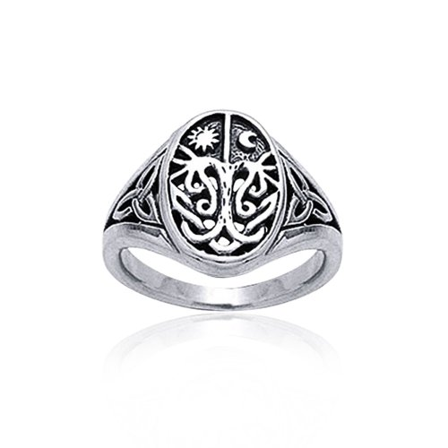 Antique Style Celtic Ring - Celestial Celtic Night Day Sun Moon Tree Of Life Signet Ring For Men For Women Antique Style 925 Sterling Silver