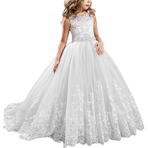 FYMNSI Flowers Girls Applique Tulle Lace Wedding Dress First Communion Birthday Christmas Prom Ball Gown White 8-9T]()
