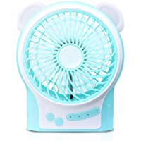 AFAITH Portable Cute Bear USB Mini Fan, 3 Speeds Adjustable Desk Fan Electric Personal Fan with 18650 Battery And Warm Light for Home, Office, Outdoor, Camping, Hiking, Travel, Picnic - Blue SA077L