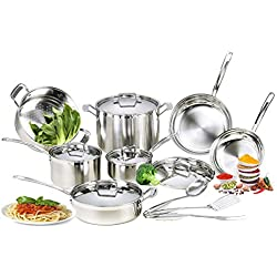 mockins 15 Piece Premium Grade Stainless Steel Cookware Set - The 15 Piece Pots And Pans And Cooking Utensils Set Has a Tri Ply Body With a Pure Aluminum Core To Fill All Your Cooking Needs … … … … …