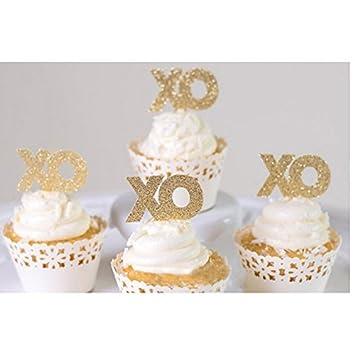 Amazon.com: Bidlsbs 30 Count Wedding Bridal Bachelorette XO Cupcakes ...