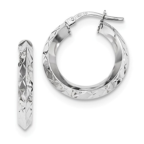 (14k White Gold Hoops Hoop Fine Jewelry Gifts For Women For Her)