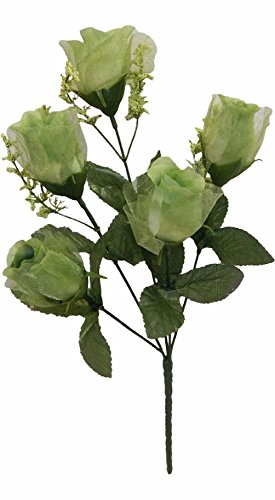 5 Roses Sage Green Silk Wedding Bridal Bouquet Flowers Centerpieces