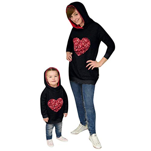 (Londony♥‿♥ Mommy&Me Girls Women Parent-Child Milk Coffee Print Sweatshirt Pullover Family Matching Tops Outfits)