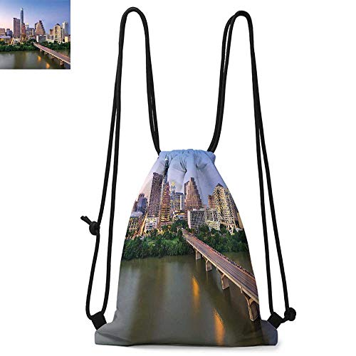 Modern Portable drawstring backpack Austin Texas American City Bridge over the Lake Skyscrapers USA Downtown Picture For the gym W13.4 x L8.3 Inch Multicolor