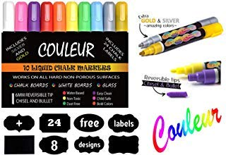 Liquid Chalk Makers Set - Neon colors with Silver and Gold Metallic - 10 Pack with FREE 24 Chalkboard Labels - Reversible Bullet and Chisel Tip!