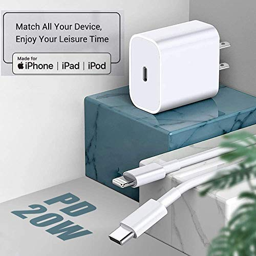 [Apple MFi Certified] iPhone Fast Charger, DESOFICON 20W PD Power Type C Rapid Wall Charger Travel Plug with 6FT USB-C to Lightning Quick Charging Sync Cord for iPhone 13/12/11/XS/XR/X/8/iPad/AirPods