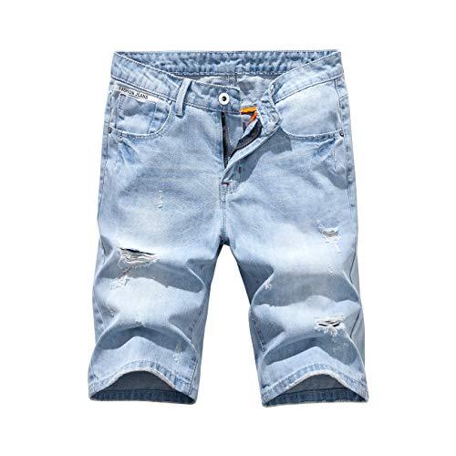 - Heart Yuxuan Men's Fashion Slim Casual Denim Short (36, Light Blue)