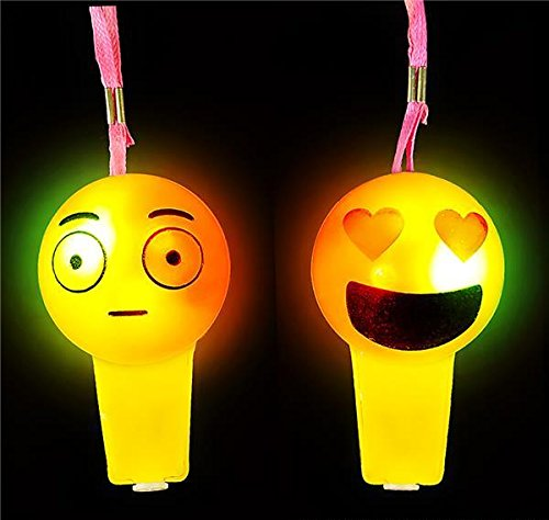 LIGHT-UP EMOTICON WHISTLE NECKLACE, Case of 288