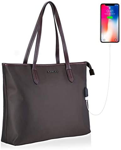 Black Multi-Function Tote Bags for Man,15.6 Inch Laptop Tote Briefcase,Business Purse Laptop Case with Spacious Interior