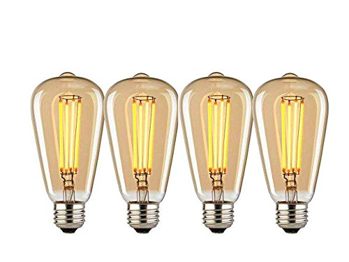 Vintage Edison Bulbs, KingzMade 60w Dimmable Industrial Pendant Filament Light Bulbs with Vintage Antique Style Design for Pendant Lighting, Wall Sconces, Ceiling Fan and Chandeliers (4 Pack)