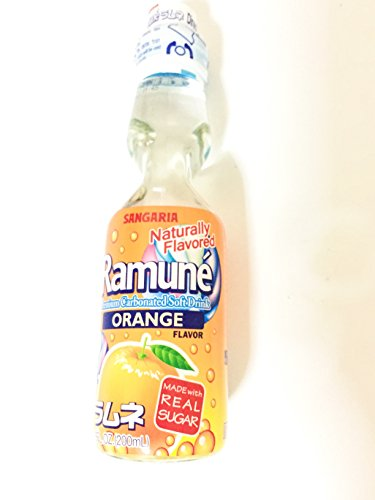 Sangaria Ramune Japanese Carbonated Soft Drink Orange Flavor 6 Pack (6.76Fl.Oz)