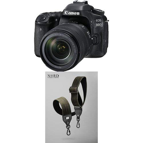 Canon EOS 80D Digital SLR Kit with EF-S 18-135mm f/3.5-5.6 Image Stabilization USM Lens (Black) with Universal Camera Strap with Quick Release System