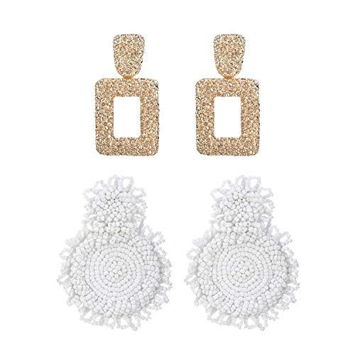 MERTH Gold Geometric Earrings - Beaded Bohemian Earrings Bead Round Drop Dangle Statement Earrings, 70s 80s Earrings For Women, Add Necklace 1 pcs. (white)