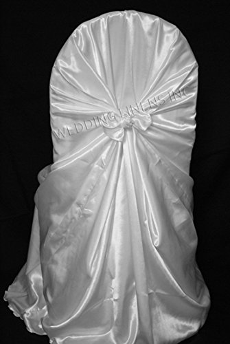 Cover Chair Self Tie - Wedding Linens Inc. (2 PCS) Satin Universal Chair Covers / Self-Tie Chair Cover for Restaurant Wedding Party Banquet Events - White
