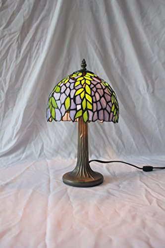 ETERN 8-Inch Vintage Pastoral Stained Glass Willow Table Lamp Bedroom Lamp Bedside -