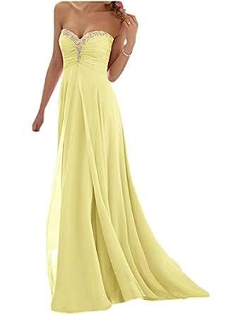 JAEDEN Vestido de Fiesta Largo Vestido de Partido Vestido de la Dama de Honor Sin Tirantes Amarillo EUR32