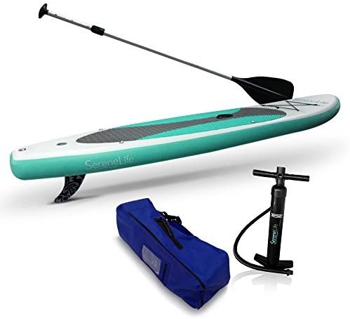 SereneLife Inflatable Stand Up Paddle Board (6 Inches Thick) Universal SUP Wide Stance w/ Bottom Fin for Paddling and Surf Control | Non-Slip Deck | Youth and Adult (Olive 緑) [並行輸入品]