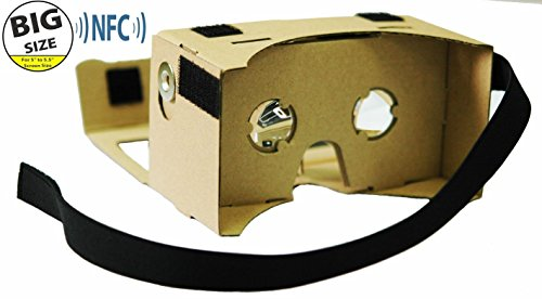 LARGER VERSION - Google Cardboard @ 45mm Focal Length Virtual Reality Google Cardboard with Printed Instructions and Easy to Follow Numbered Tabs - Perfect fit for Samsung Galaxy Note 2/Note 3, Iphone 6 Plus (WITH NFC and FREE HEAD-STRAP)