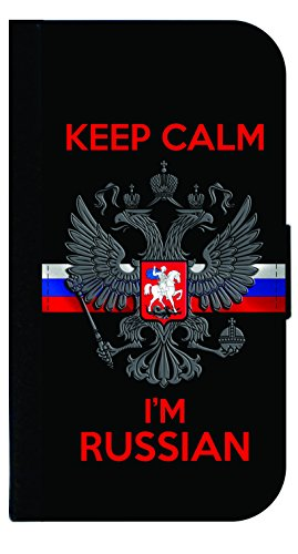 Keep Calm I'm Russian - Wallet Flip Style Phone Case Compatible with the Apple iPhone 7 Plus / Apple iPhone 8 Plus (7+,8+) Universal ()