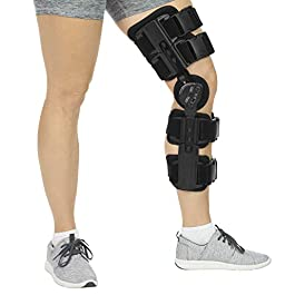 Vive ROM Knee Brace – Hinged Immobilizer for ACL, MCL and PCL Injury – Orthosis Stabilizer for Women and Men – Adjustable Recovery Support for Orthopedic Rehab, Post Op, Meniscus Tear, Right, Left Leg