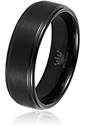 Men's Wedding Bands, Will Queen Black Matte Tungsten Rings with Step Edges, Anniversary Rings for Men