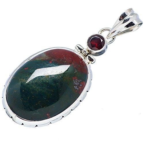 Ana Silver Co Rare Bloodstone, Garnet 925 Sterling Silver Pendant 1 7/8