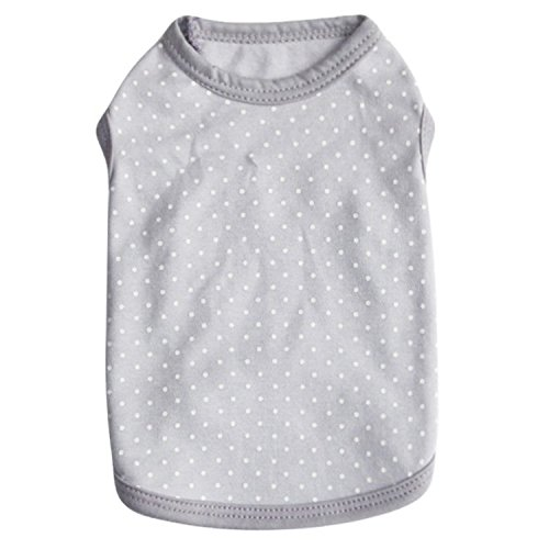 DroolingDog Pet Dog Clothes Polka Dots Cotton Puppy T Shirt for Small Dogs, Small, Grey