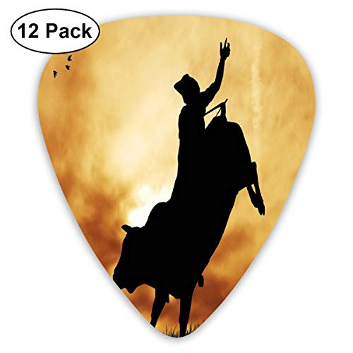 Guitar Picks 12-Pack,Bull Rider Silhouette At Sunset Dramatic Sky Rural Countryside Landscape Rodeo