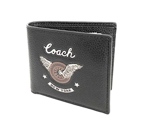 NWT Coach Men s Double Billfold Leather Wallet With Easy Rider Motif,Black