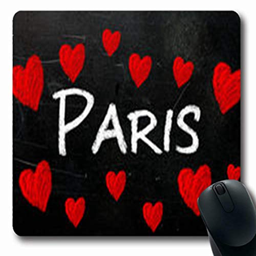 Pandarllin Mousepads Capital Paris Written On by Used Blackboard Surrounded Arch Monumental Oblong Shape 7.9 x 9.5 Inches Oblong Gaming Mouse Pad Non-Slip Rubber - Monumental Arch
