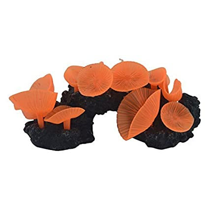 Amazon.com : eDealMax silicona Waterscape acuario pecera de Emulational Coral Hierba Planta Decoración del ornamento de Orange : Pet Supplies