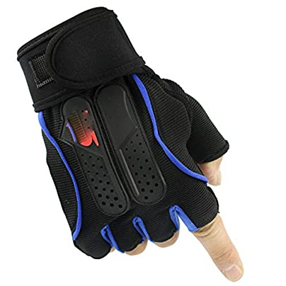 zhaoaiqin Outdoor Half Finger Gloves Fitness Sportsman Male Long Wristband Riding Half Finger Gloves Blue-M Estimated Price £15.53 -