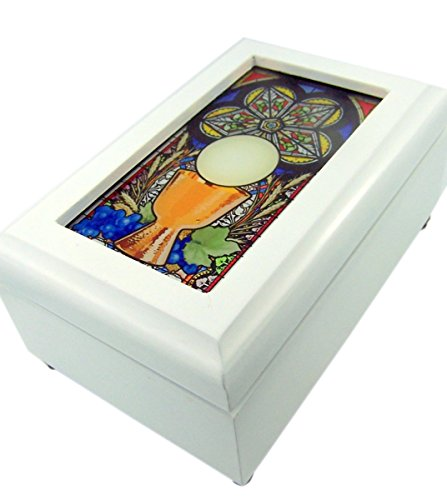 Catholic Religious First Communion Stained Glass White Wood Musical Jewelry Box, 6 1/2 Inch Baby White Trinket Box