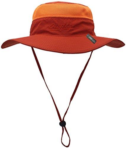 n Cap Camouflage Bucket Mesh Boonie Hat (Orange, One Size) (Orange Camouflage Cap)