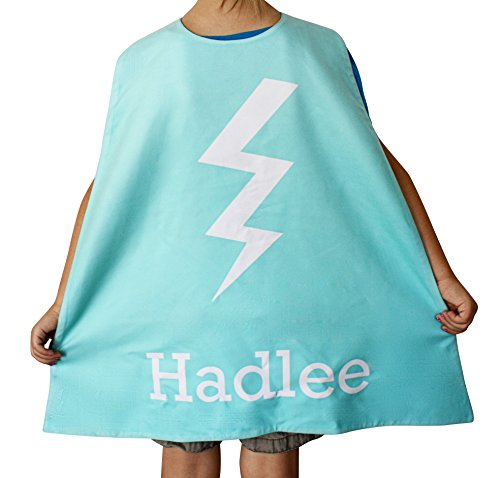 Personalized Kids Cape Costumes (Aqua Bolt), Girls and Boys Superhero Costume and Dress Up Costume, Personalized Bolt Superhero Cape for Kids, Little Kids Cape, Custom Super Hero Capes for Kids