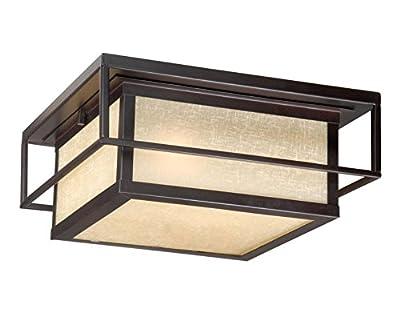 Vaxcel RBOFU120EB 2 Light Robie Flush Outdoor Close to Ceiling Light, Espresso Bronze