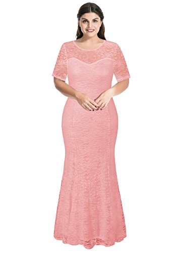 myfeel Women Plus Size Lace Ruched Empire Waist Sweetheart Mermaid Fishtail Cocktail Evening Dress (3X, Pink Lotus) (Ruched Dress Sweetheart)