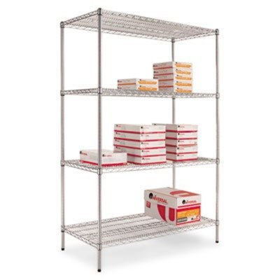 Aleraamp;reg; - Wire Shelving Starter Kit, 4 Shelves, 48w x 24d x 72h, Silver - Sold As 1 Each - Ideal storage solution for industrial, commercial and restaurant (Alera 72 Inch Storage Cabinet)