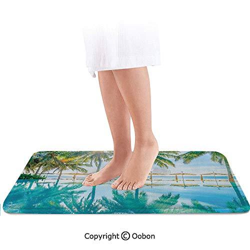 Landscape Bath Mat,Pool by The Beach with Seasonal Eden Hot Sunny Humid Coastal Bay Photography,Plush Bathroom Decor Mat with Non Slip Backing,32 X 20 Inches,Green Blue
