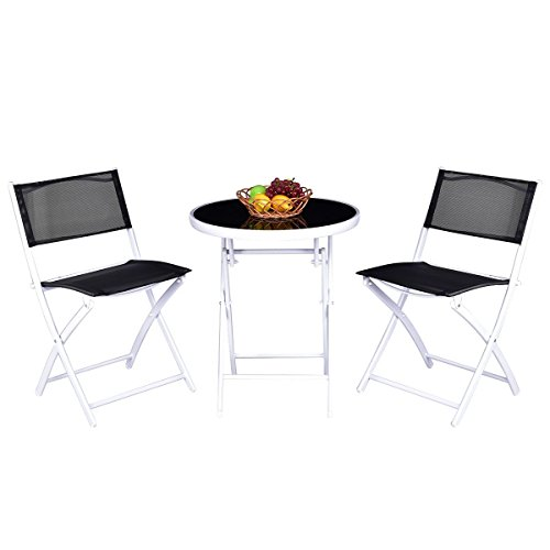 (Giantex 3 PCS Folding Bistro Table Set W/ 2 Chairs Garden Backyard Patio Outdoor Furniture (Black))
