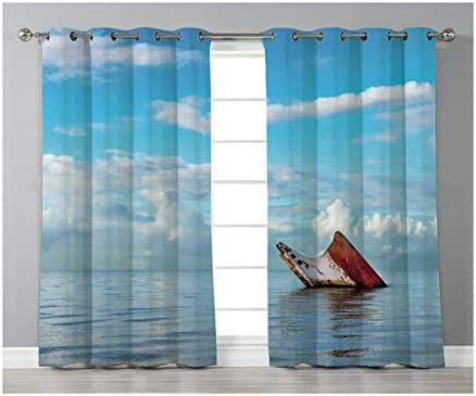 Goods247 Blackout Curtains,Grommets Panels Printed Curtains for Living Room Set of 2 Panels,55 by 95 Inch Length ,Ocean Decor