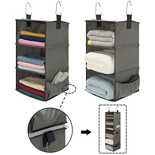 StorageWorks 2PCS 3-Shelf Hanging Closet Organizers, Space-Saving Storage Closet Hanging Shelves, Collapsible Storage Shelves for Clothes and Shoes, Polyester Fabric, Greenish Gray, 12