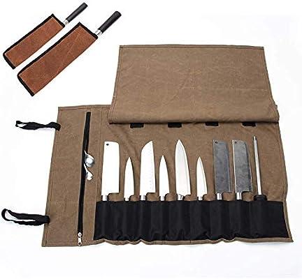 QEES 1 bolsa para cuchillos de chef con 2 vainas para cuchillos, estuche de lona encerada, soporte para cuchillos duradero, bolsa multiusos para cuchillos: Amazon.es: Hogar