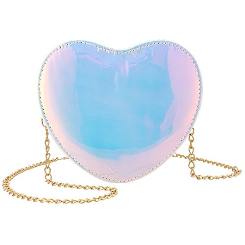 Candice Women Shiny Hologram Holographic Heart Handbag Shoulder Bag Crossbody Bag Purse Evening Bag(Multi-Color) by Candice