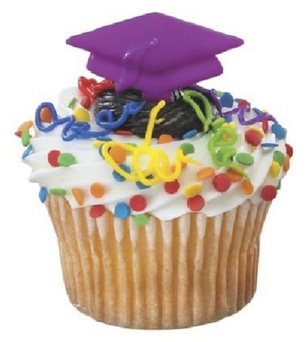 CakeDrake PURPLE GRADUATION Grad CAP Hat 12 Party Cupcake Cake Topper Decor Pop Pics Picks ()