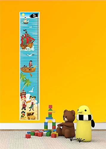 PIRATE SEA TREASURE SHIP BEDROOM DECOR BOY GIRL KIDS CANVAS HEIGHT CHART - Mail Guaranteed Day Next Delivery Royal